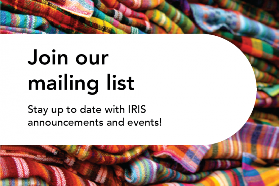 Join our mailing list, colorful background behind text
